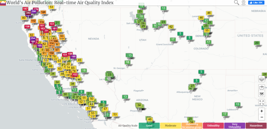 Cambridge Mask - Wildfires and Air Quality Index Interactive Map - West Coast the USA
